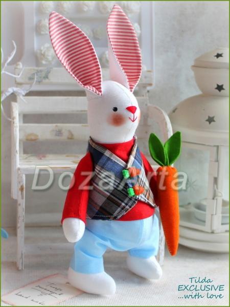 Тильда зайка Гаврюша с морковью 26 см