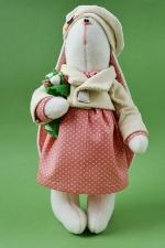 Зайка в розовом платье 23 см