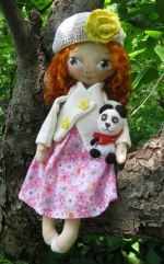 Кукла Грета - рыжая девочка с пандой 33см