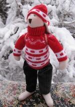 Заяц-олимпиец Стас в красном свитере 36 см
