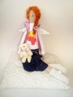Тильда Сюзанна с мишкой - ангел-хранитель любви 38 см