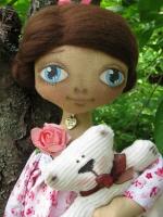 Кукла Диана - девочка в розовом платье с мишкой 33см